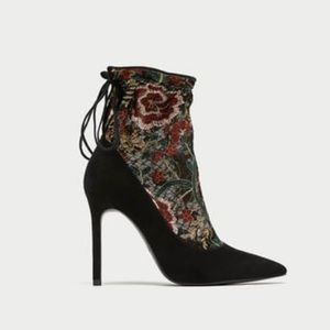 NWT Zara booties with lace detail.